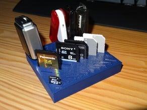 MicroSD card SD card USB-A holder