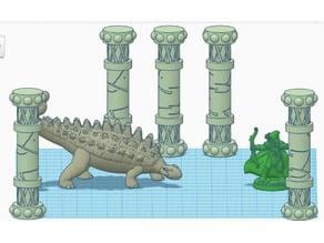 Erol Otus Inspired Ankylosaurus Pillars (for 28mm RPG gaming)