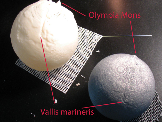 mars globes highly slightly exagerrated by neurothing thingiverse