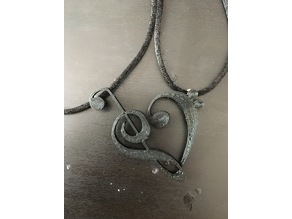 Clef Heart Necklace Charms