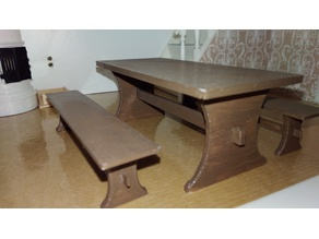 Kitchen table and benches for dollhouse