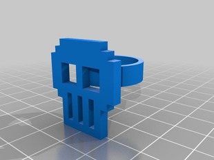 customized skull pixel art ring (Design your own!)