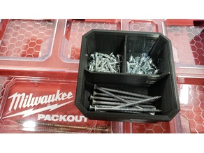 "Milwaukee Low Profile Packout 3 Compartment Bin with ""T"" divider"