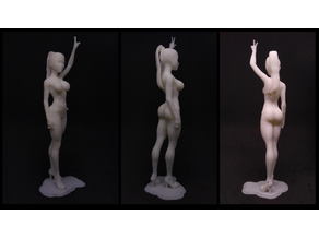 Standing Girl Doing Two Finger Victory Gesture