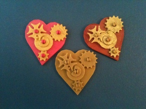 Snap-Together Valentine Gears Pin and Pendant