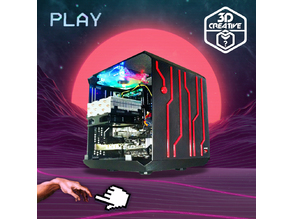 Square PC Case Tron Vaporwave