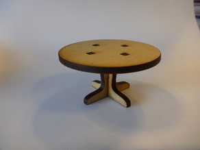 Lasercut round table for a dolls house.