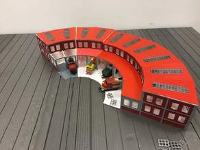 1:87 HO scale train depot with turntable