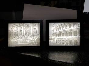 Rome Colosseum and Trevi Fountain Lithophanes