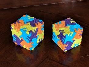 MC Escher lizard cube in 3D