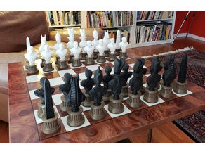 Egyptian Chess Set on Column Pedestals