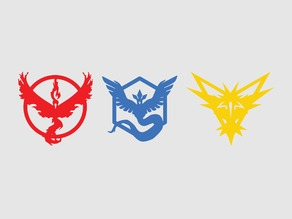 Print+Laser Cut Optimized Pokemon GO Team Emblems