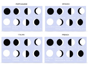 Moon Phases - Portuguese Spanish Italian French Versions