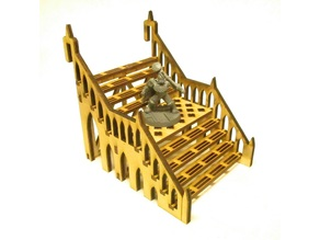 Wide straight staircase 8x12x8 cm for 3mm laser cut MDF