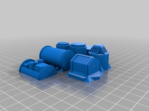 Set of 7 Sc-fi containers for Wargaming