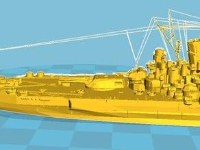 Yamato Battle ship model cut into 2