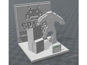 space invader diorama