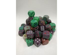 Dice with unbalanced 1mm indents