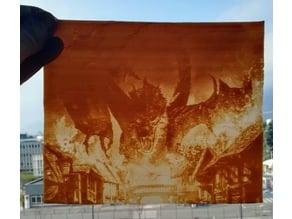 Smaug destroying Laketown lithophane