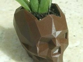 low poly skull planter