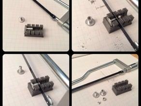 Jig for trimming binding post screws (Chicago Screws)