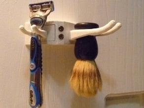 Razor and shaving brush holder