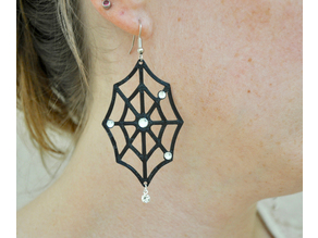 Rhinestone Spider Web Earrings