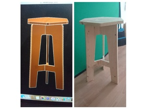 Recycled/reclaimed wood hexagonal stool