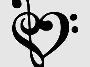 heart clef bass treble pendant