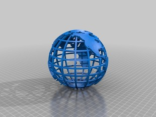 Gridded Globe with Islands Removed