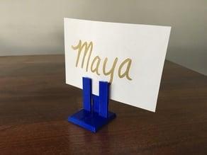 table top name holder, price tag holder, business card holder