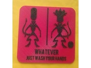 Xeno soldier/queen inclusive gender neutral bathroom sign
