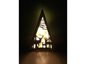 Lasercut wooden LED christmas scene triangle