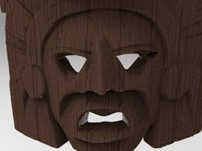 Mayan calendar Mask - 3D scan Wood