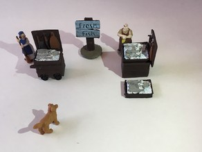 Medieval Miniature Fish Market Stall