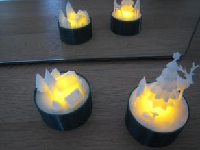 Christmas X-mas Winter Sceneries for LED Tealight