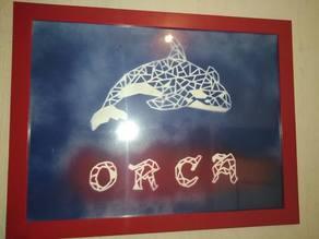 Origami/pochoir Orque- origami/stencil Orca/killer whale