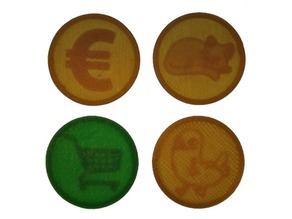 One Euro Tokens with Hidden Internal Lithophanes