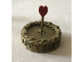 Birthday Cake with Heart Candle