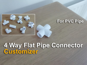 4 Way Flat Pipe Connector - Customizer