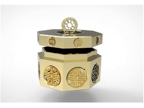 An Octagonal Lotus Tradition Case & Coin Bank