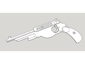 Jenga gun, 1894 Bergmann automatic pistol.