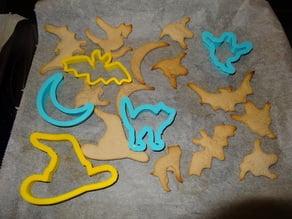 Set 2 - Halloween Cookie Cutter Set 2 - Cat, Hat, Witch, Hexe, Katze, Hut