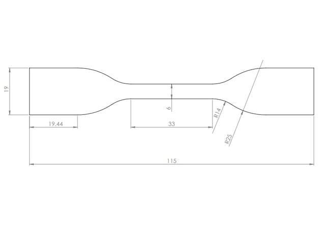 ASTM D638 Type IV Dog bone Tensile sample by Lmpeeke