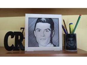 Dibujo 3D Cristiano Ronaldo cr7 con marco
