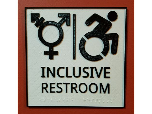 Inclusive Restroom Sign With Braille By CaptObvious