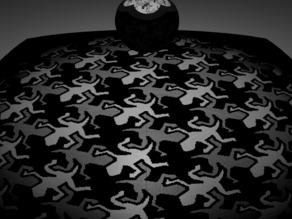 Stereographic projection MC Escher lizards grayscale