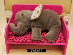 Bed for the elephant and chair for toddler