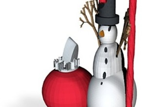 snowman with xmas ornament