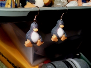 Tux Earrings, Full-Color Linux Penguin Earrings